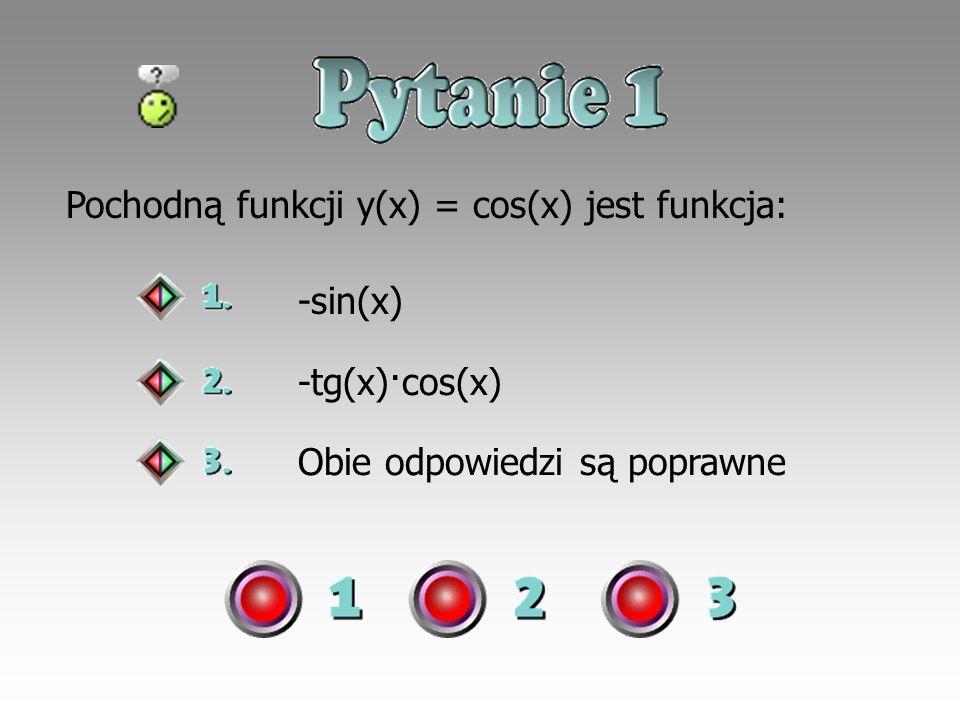 Pochodną funkcji y(x) = cos(x) jest funkcja: