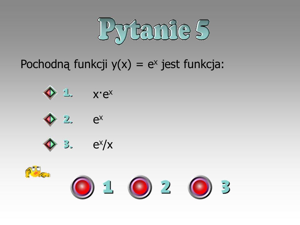 Pochodną funkcji y(x) = ex jest funkcja: