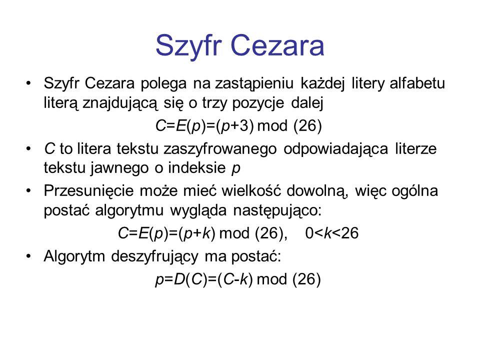 C=E(p)=(p+k) mod (26), 0<k<26