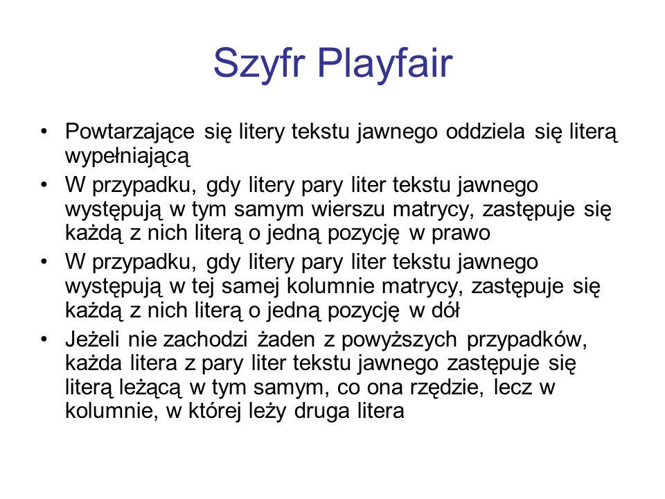 Szyfr Playfair Powtarzające się litery tekstu jawnego oddziela się literą wypełniającą.