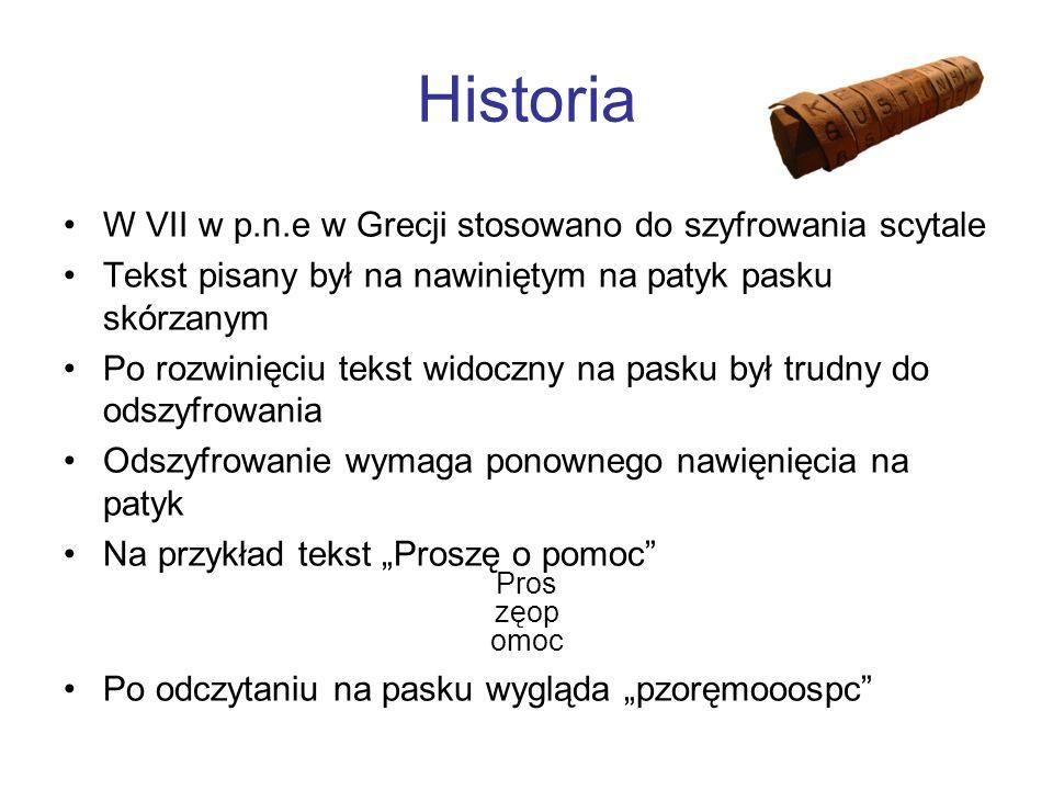 Historia W VII w p.n.e w Grecji stosowano do szyfrowania scytale