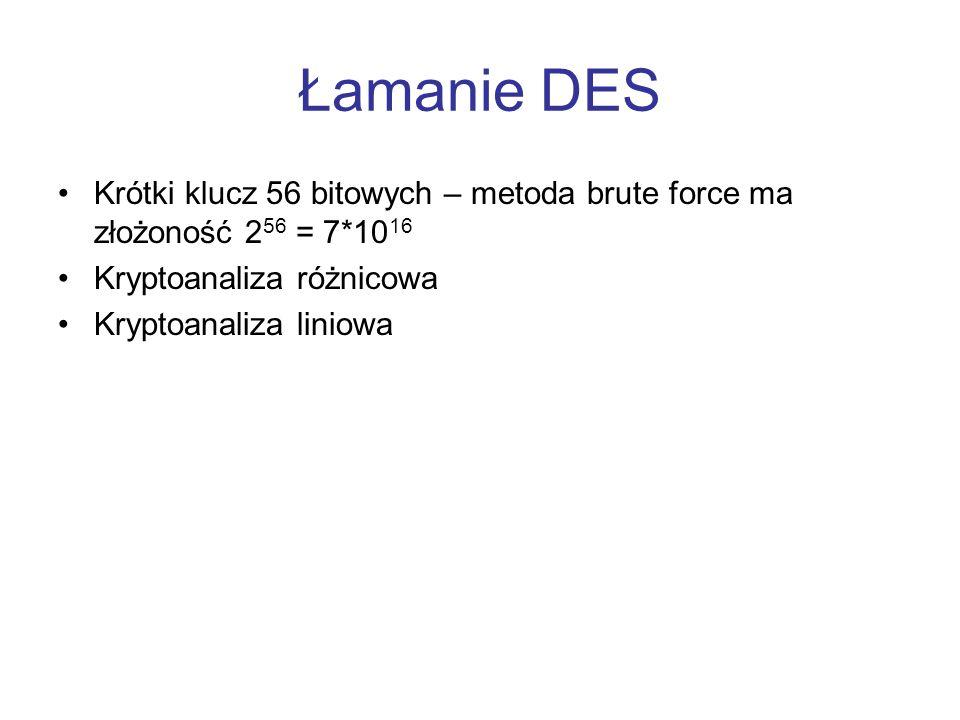 Łamanie DES Krótki klucz 56 bitowych – metoda brute force ma złożoność 256 = 7*1016. Kryptoanaliza różnicowa.