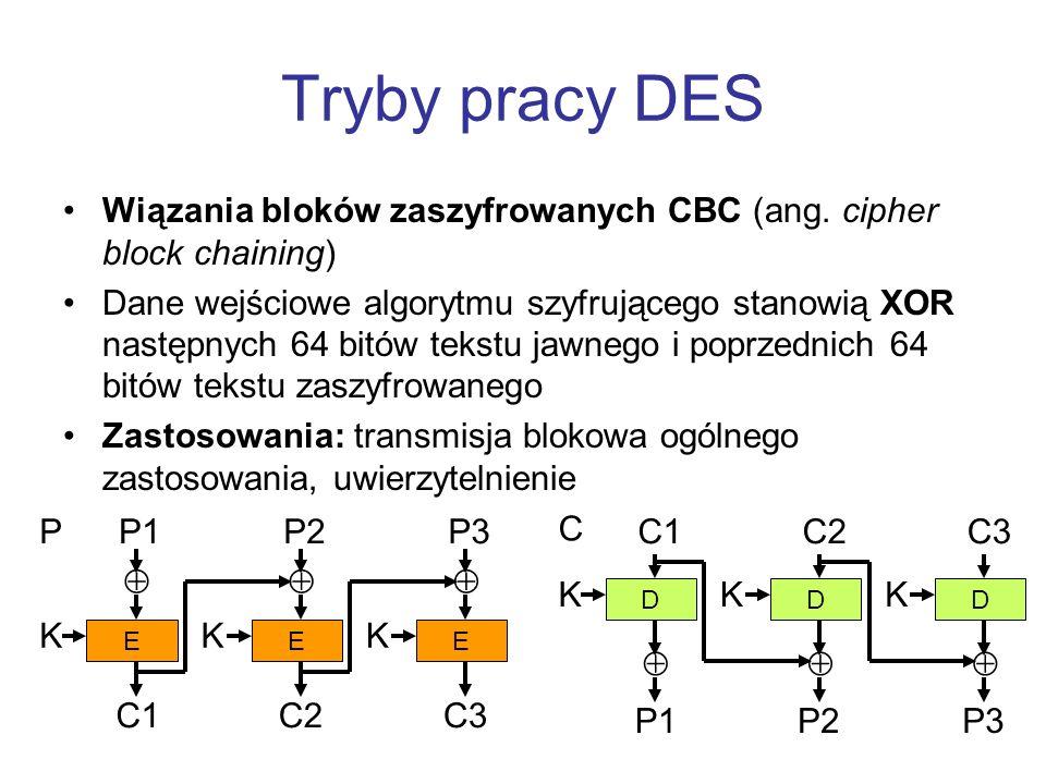 Tryby pracy DES Wiązania bloków zaszyfrowanych CBC (ang. cipher block chaining)