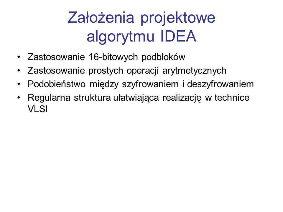 Założenia projektowe algorytmu IDEA