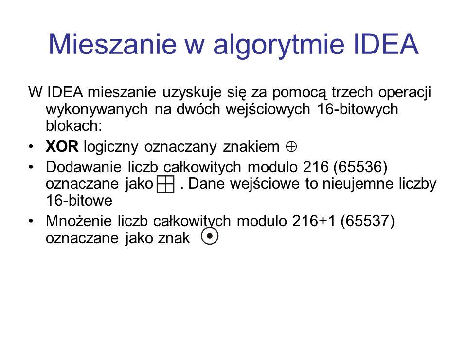 Mieszanie w algorytmie IDEA