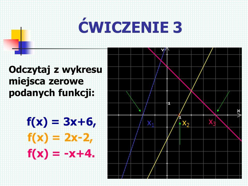 ĆWICZENIE 3 f(x) = 2x-2, f(x) = -x+4.