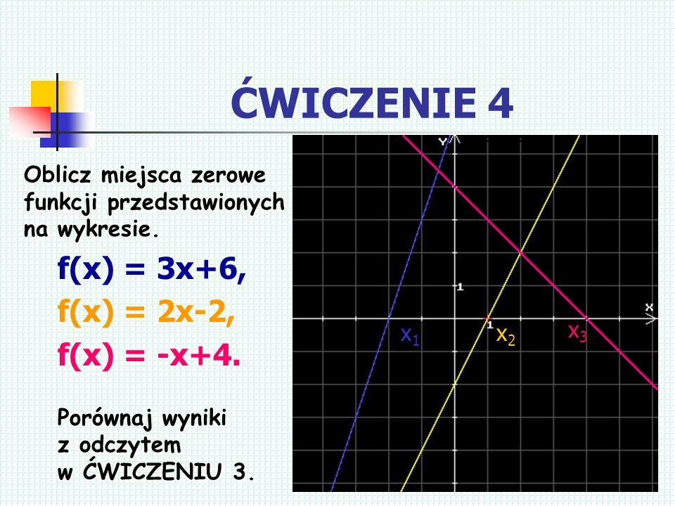 ĆWICZENIE 4 f(x) = 3x+6, f(x) = 2x-2, f(x) = -x+4.