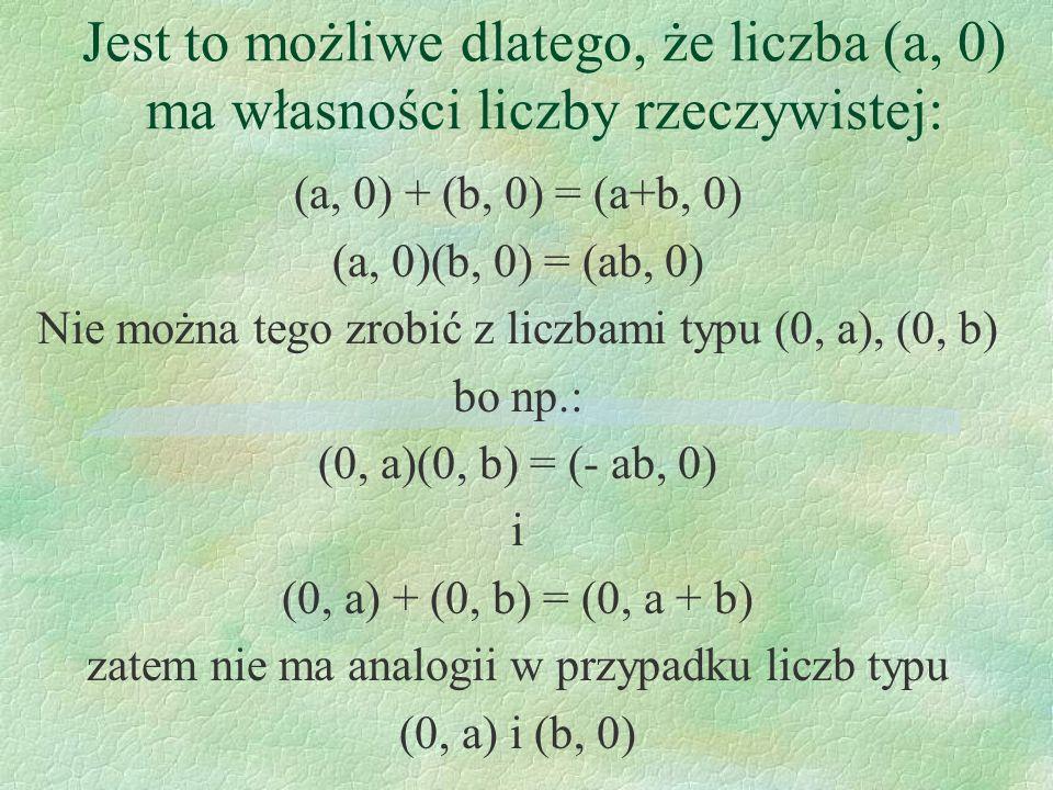 Jest to możliwe dlatego, że liczba (a, 0) ma własności liczby rzeczywistej:
