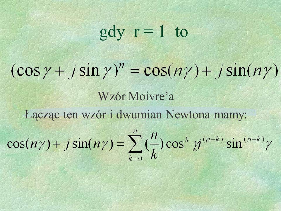 Wzór Moivre'a Łącząc ten wzór i dwumian Newtona mamy: