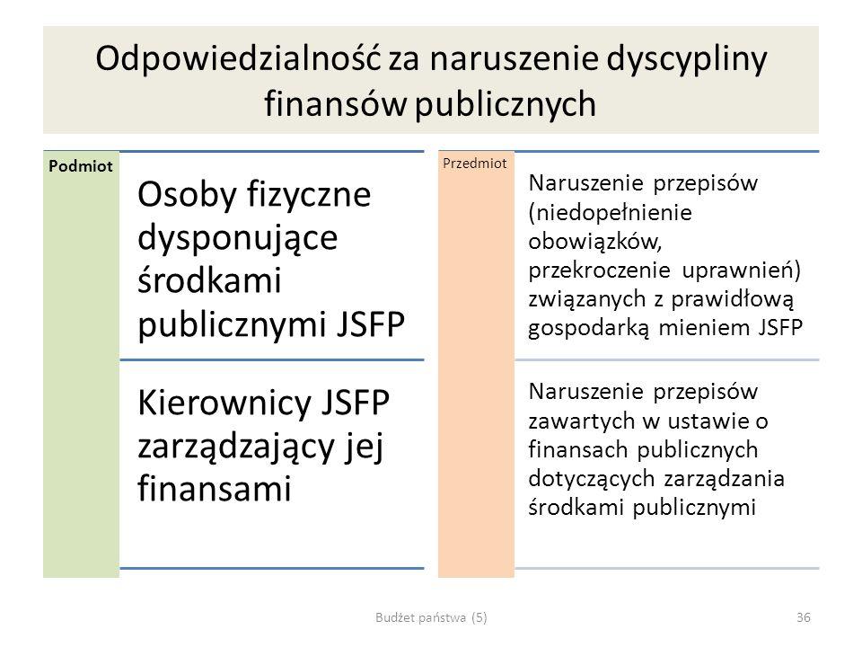 Odpowiedzialność za naruszenie dyscypliny finansów publicznych