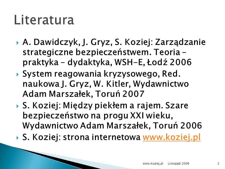 Literatura A. Dawidczyk, J. Gryz, S. Koziej: Zarządzanie strategiczne bezpieczeństwem. Teoria – praktyka – dydaktyka, WSH-E, Łodź 2006.