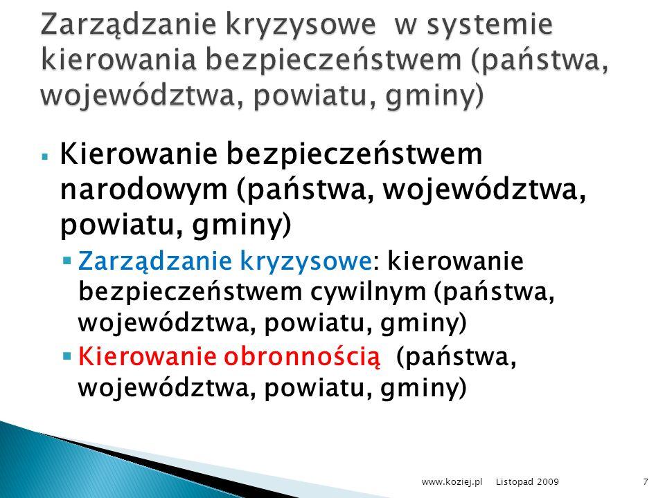 Zarządzanie kryzysowe w systemie kierowania bezpieczeństwem (państwa, województwa, powiatu, gminy)