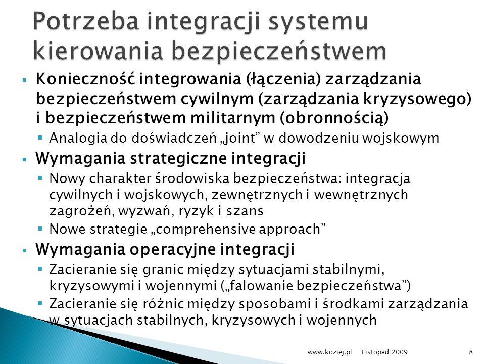 Potrzeba integracji systemu kierowania bezpieczeństwem