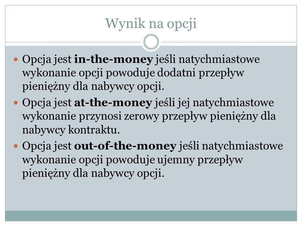 Wynik na opcji Opcja jest in-the-money jeśli natychmiastowe wykonanie opcji powoduje dodatni przepływ pieniężny dla nabywcy opcji.