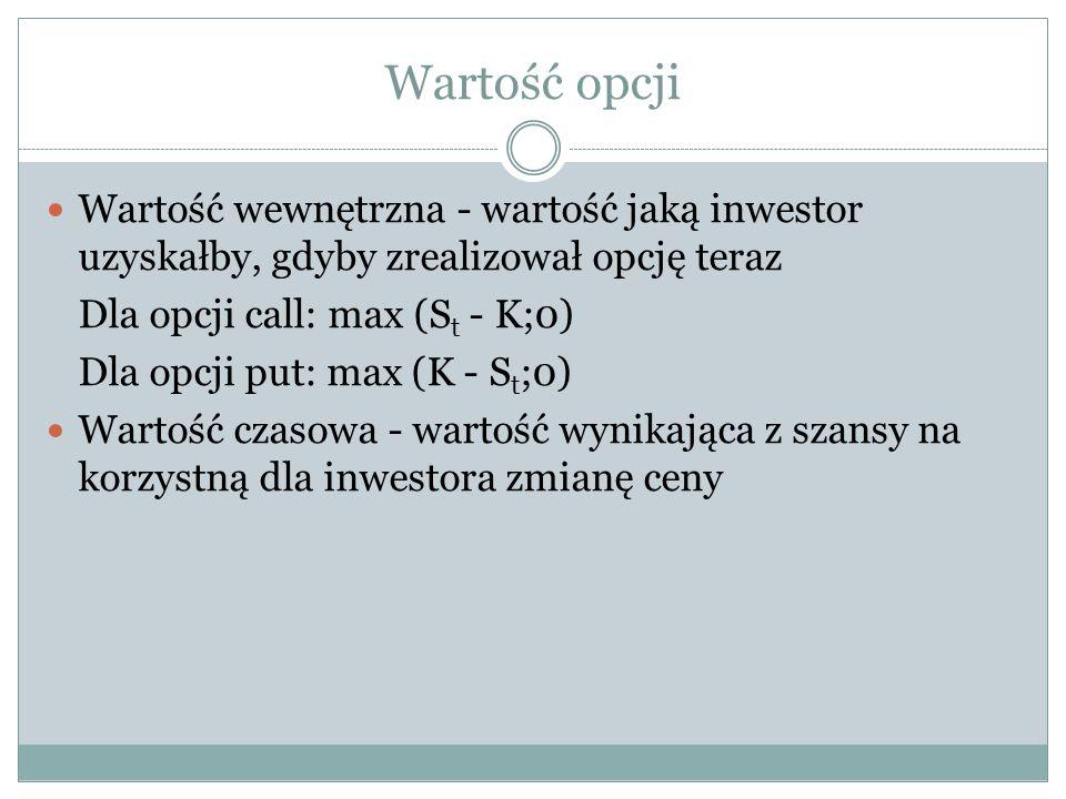 Wartość opcji Wartość wewnętrzna - wartość jaką inwestor uzyskałby, gdyby zrealizował opcję teraz. Dla opcji call: max (St - K;0)