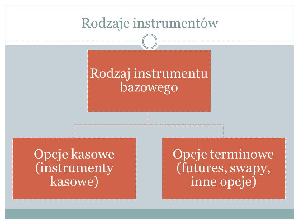 Rodzaje instrumentów Opcje terminowe (futures, swapy, inne opcje)