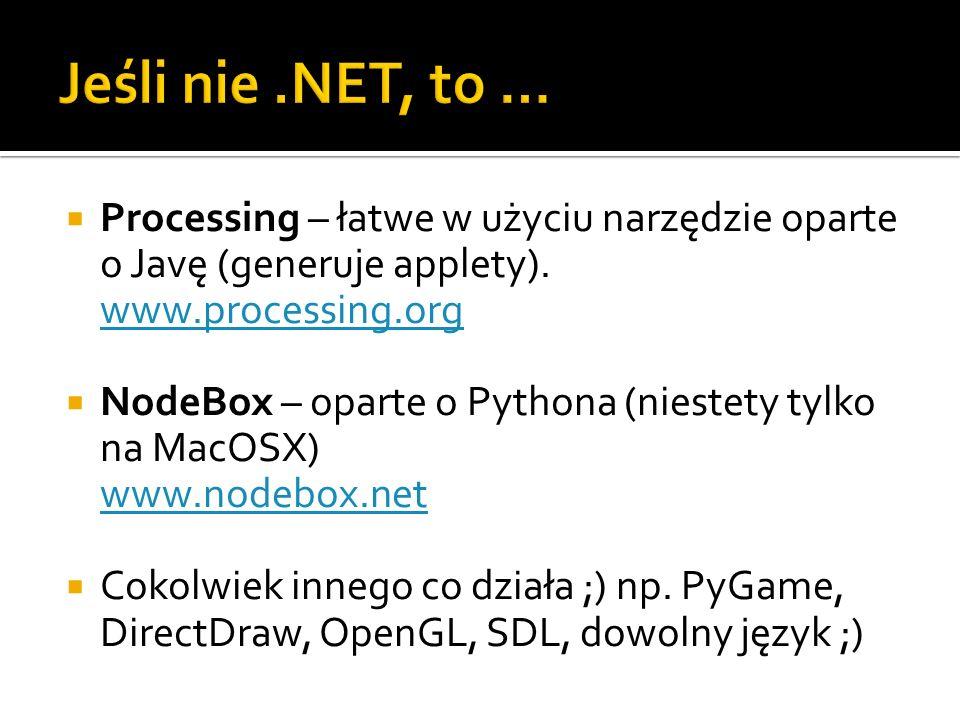 Jeśli nie .NET, to … Processing – łatwe w użyciu narzędzie oparte o Javę (generuje applety). www.processing.org.
