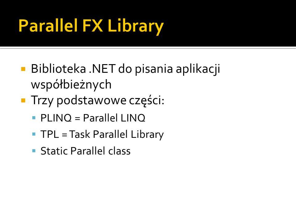 Parallel FX Library Biblioteka .NET do pisania aplikacji współbieżnych