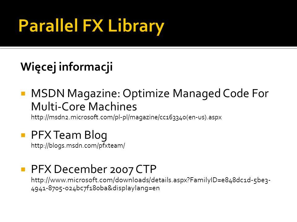 Parallel FX Library Więcej informacji
