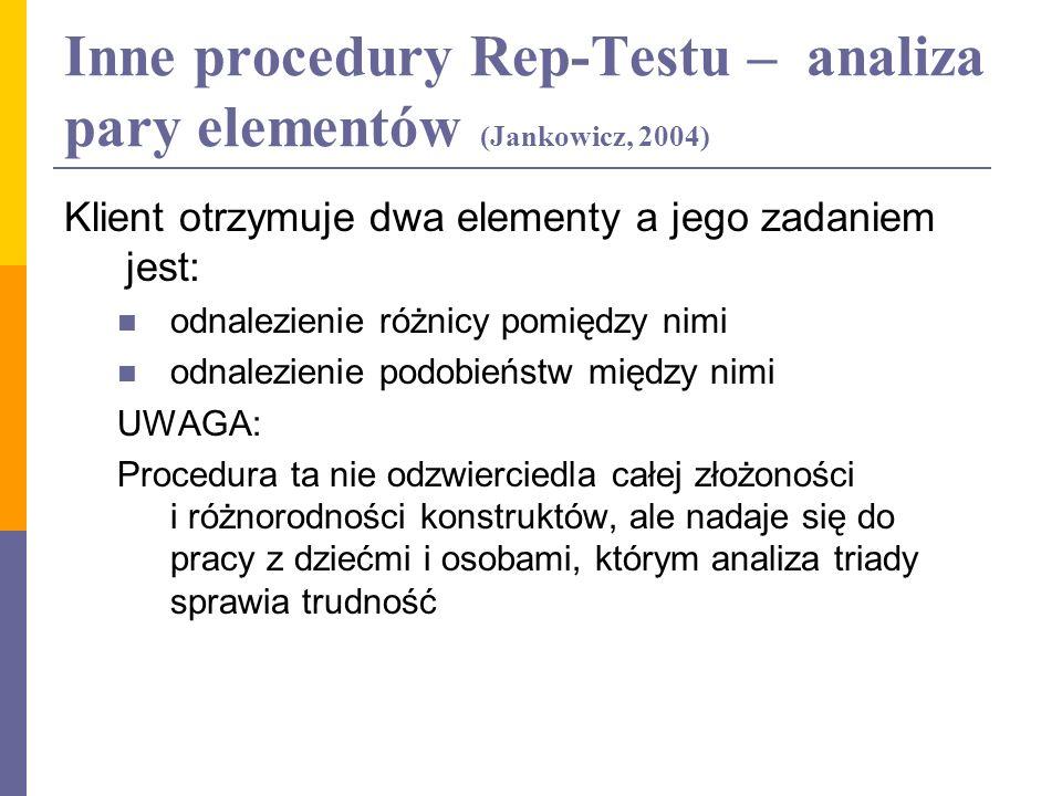 Inne procedury Rep-Testu – analiza pary elementów (Jankowicz, 2004)