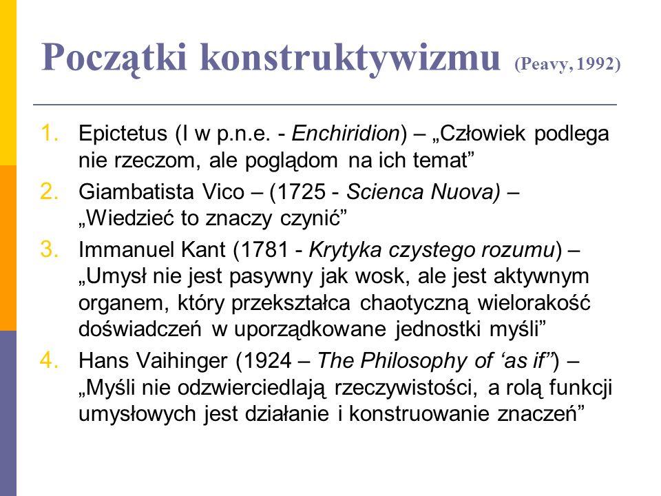 Początki konstruktywizmu (Peavy, 1992)