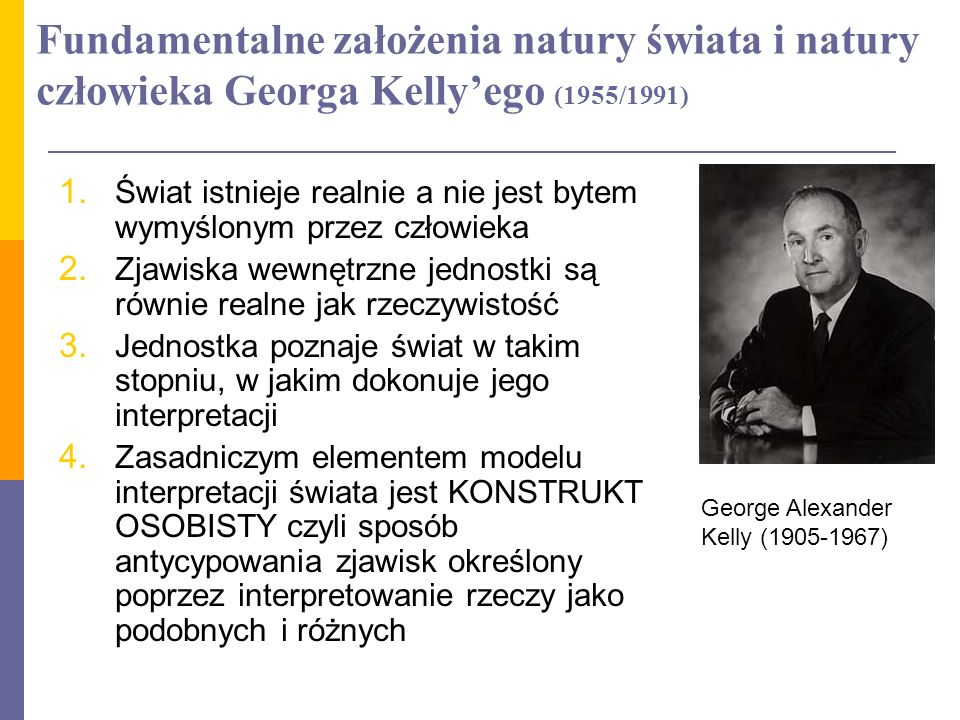 Fundamentalne założenia natury świata i natury człowieka Georga Kelly'ego (1955/1991)