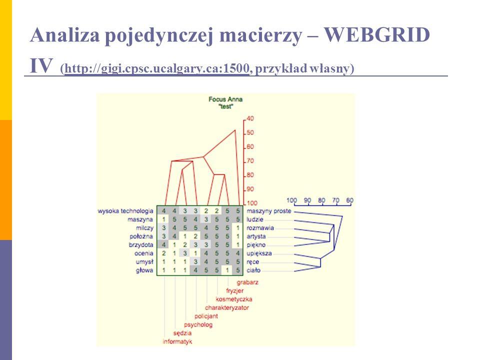 Analiza pojedynczej macierzy – WEBGRID IV (http://gigi. cpsc. ucalgary