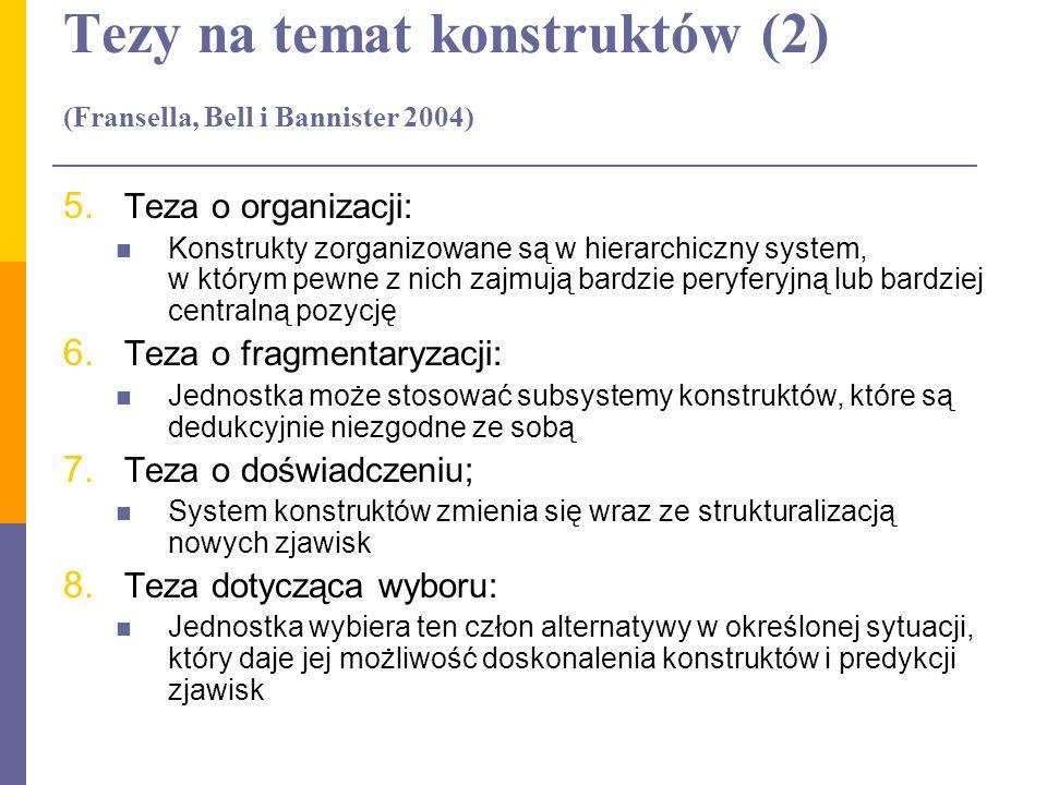 Tezy na temat konstruktów (2) (Fransella, Bell i Bannister 2004)