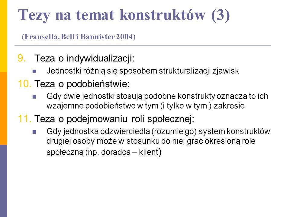 Tezy na temat konstruktów (3) (Fransella, Bell i Bannister 2004)