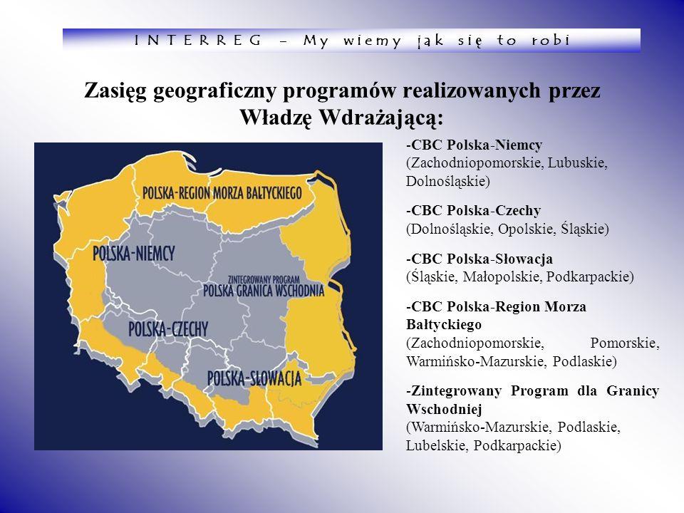 Zasięg geograficzny programów realizowanych przez Władzę Wdrażającą:
