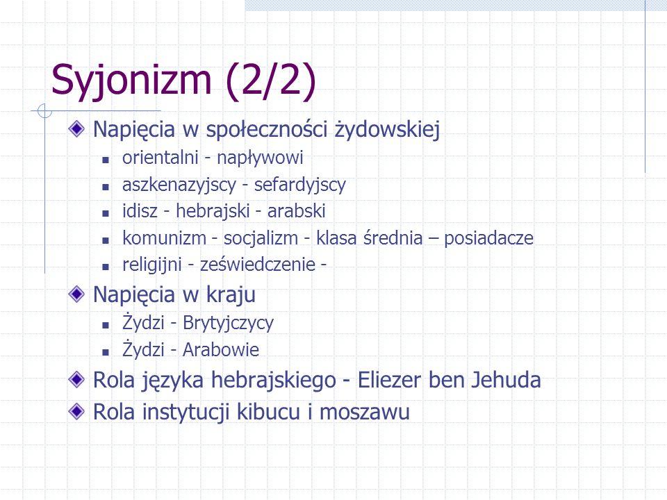 Syjonizm (2/2) Napięcia w społeczności żydowskiej Napięcia w kraju