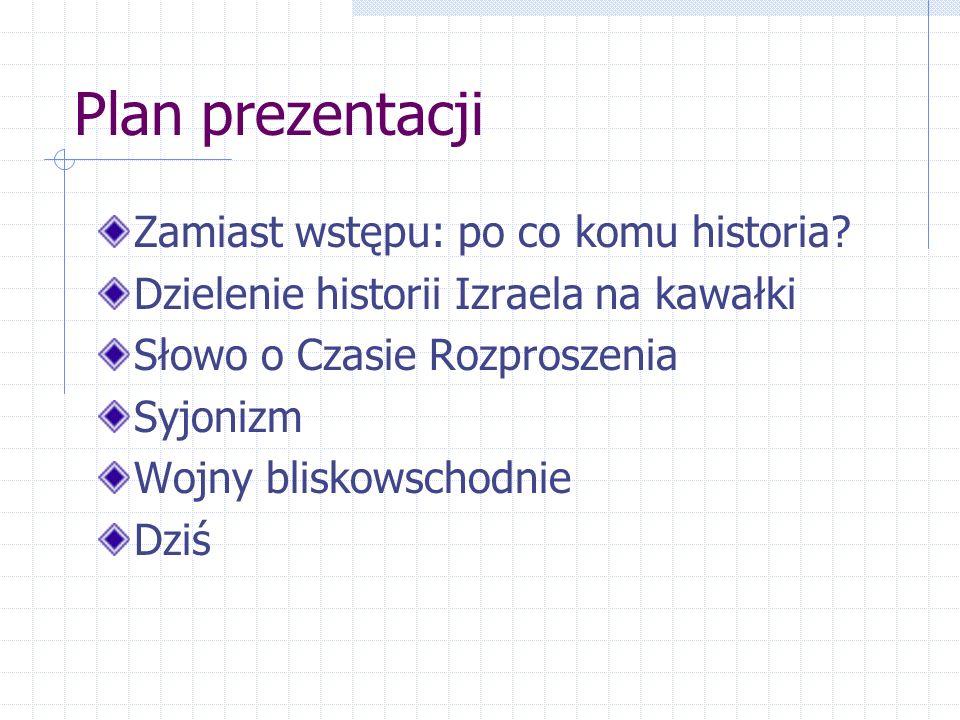 Plan prezentacji Zamiast wstępu: po co komu historia