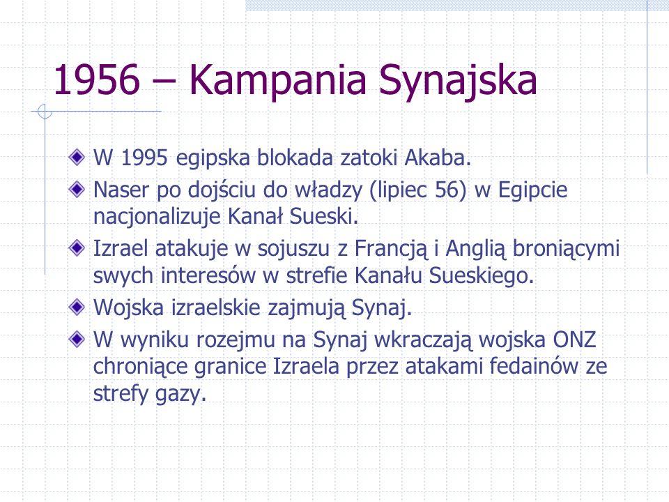 1956 – Kampania Synajska W 1995 egipska blokada zatoki Akaba.