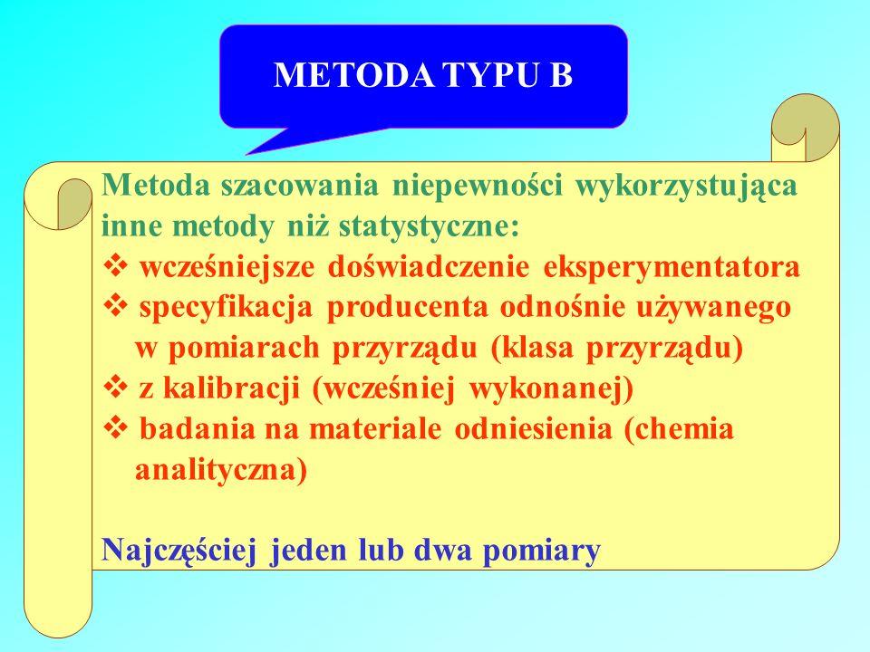METODA TYPU B Metoda szacowania niepewności wykorzystująca