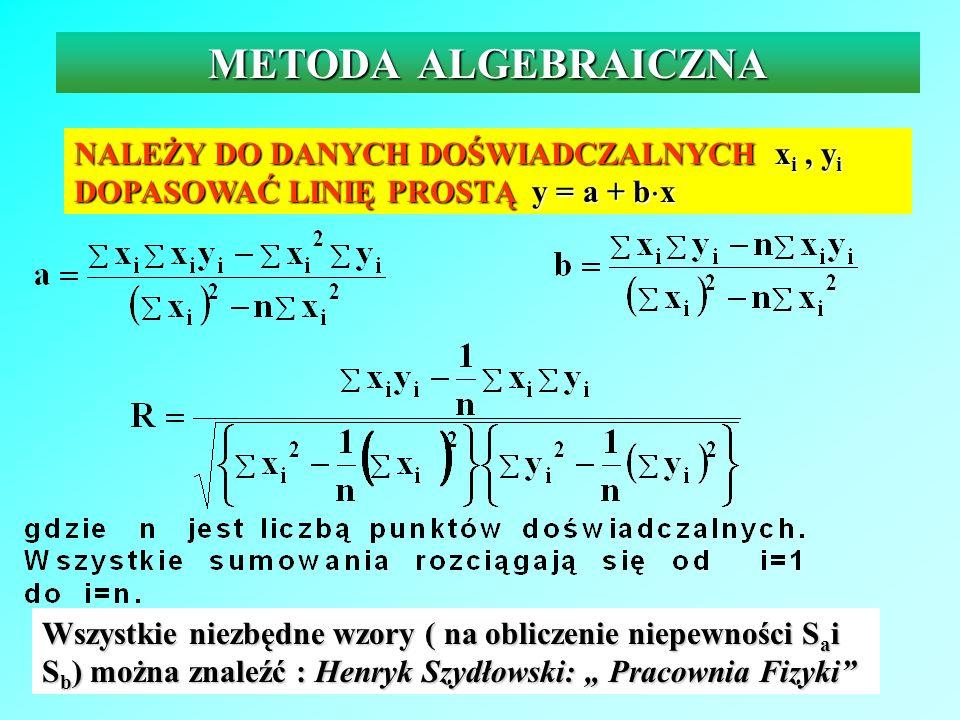METODA ALGEBRAICZNANALEŻY DO DANYCH DOŚWIADCZALNYCH xi , yi DOPASOWAĆ LINIĘ PROSTĄ y = a + bx.