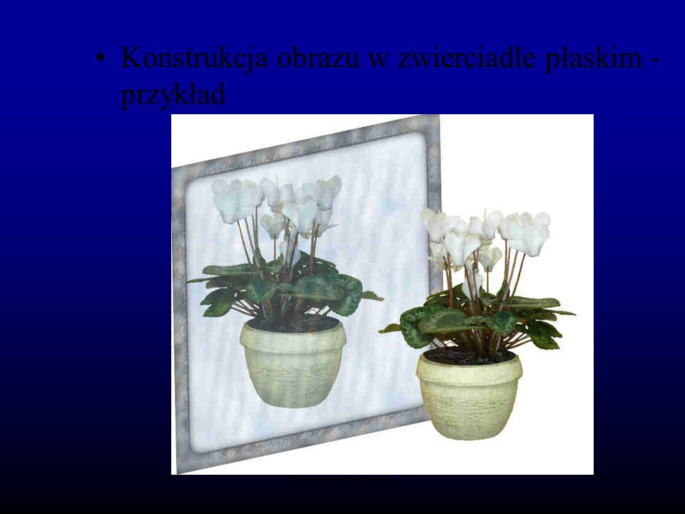 Konstrukcja obrazu w zwierciadle płaskim - przykład