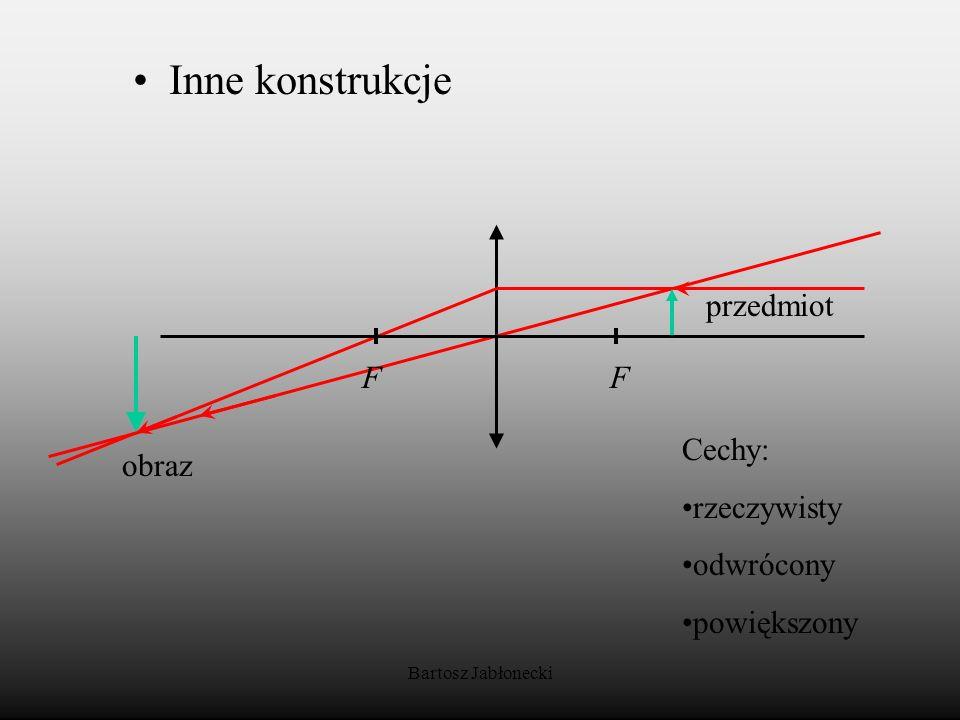 Inne konstrukcje przedmiot F Cechy: obraz rzeczywisty odwrócony
