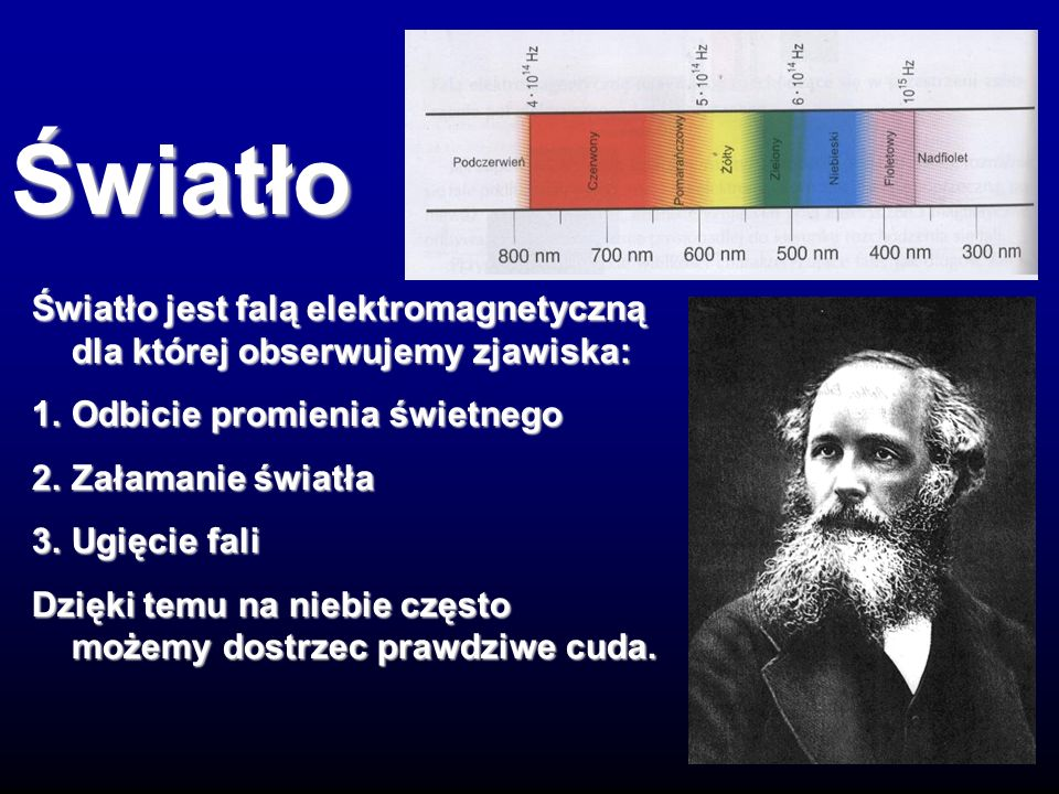 Światło Światło jest falą elektromagnetyczną dla której obserwujemy zjawiska: 1. Odbicie promienia świetnego.