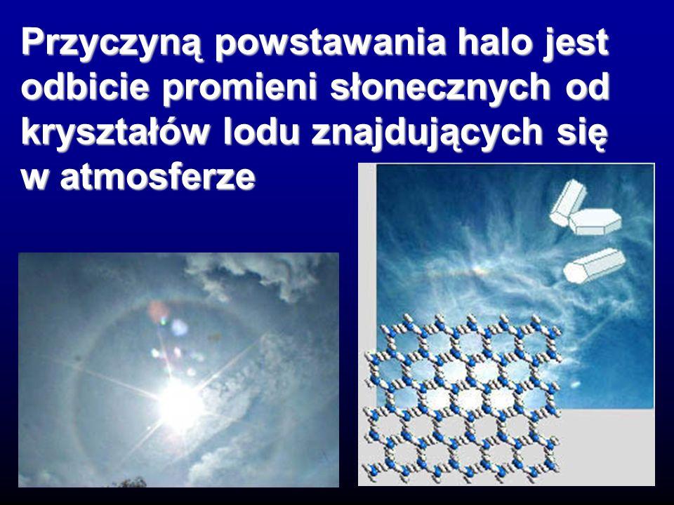 Przyczyną powstawania halo jest odbicie promieni słonecznych od kryształów lodu znajdujących się w atmosferze