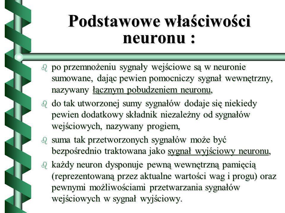 Podstawowe właściwości neuronu :