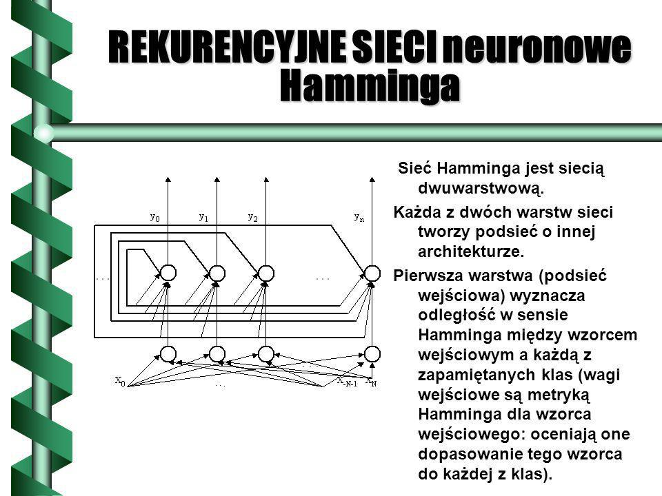 REKURENCYJNE SIECI neuronowe Hamminga