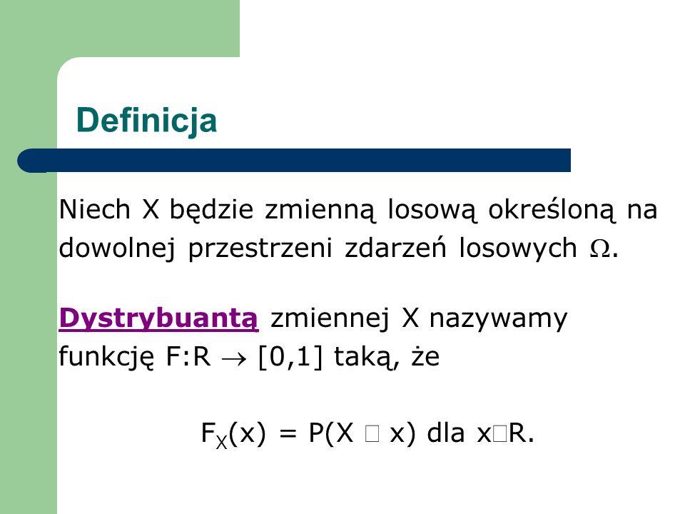 Definicja Niech X będzie zmienną losową określoną na