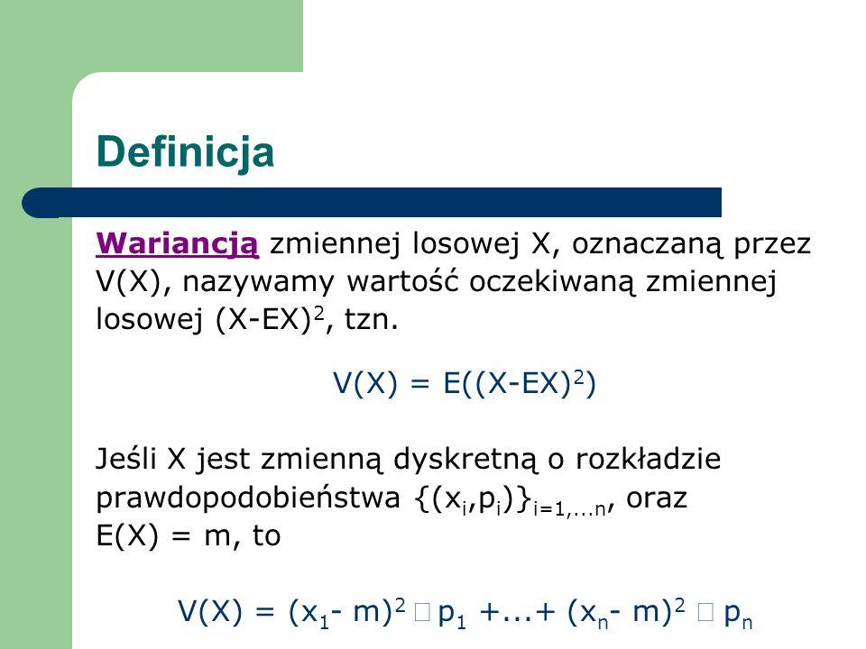 V(X) = (x1- m)2 × p1 +...+ (xn- m)2 × pn