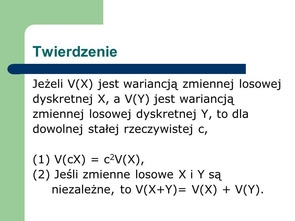 Twierdzenie Jeżeli V(X) jest wariancją zmiennej losowej