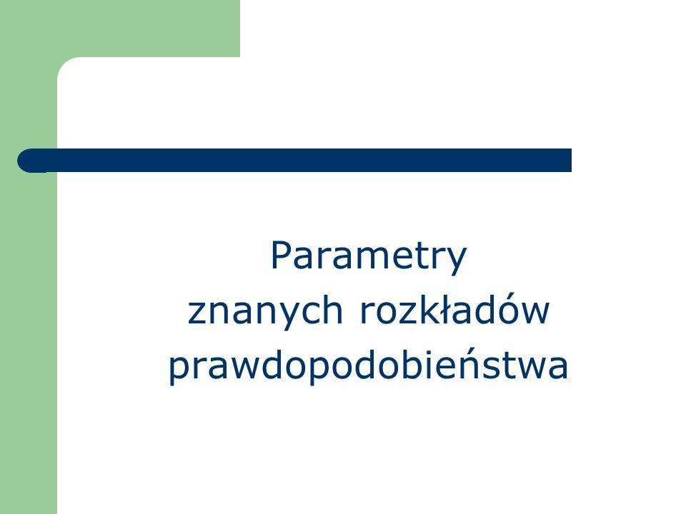 Parametry znanych rozkładów prawdopodobieństwa