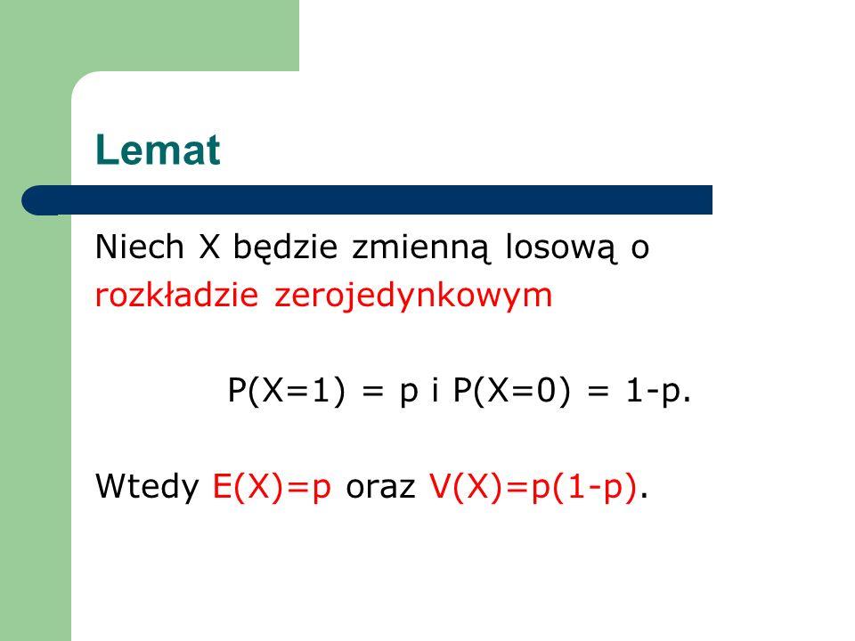 Lemat Niech X będzie zmienną losową o rozkładzie zerojedynkowym