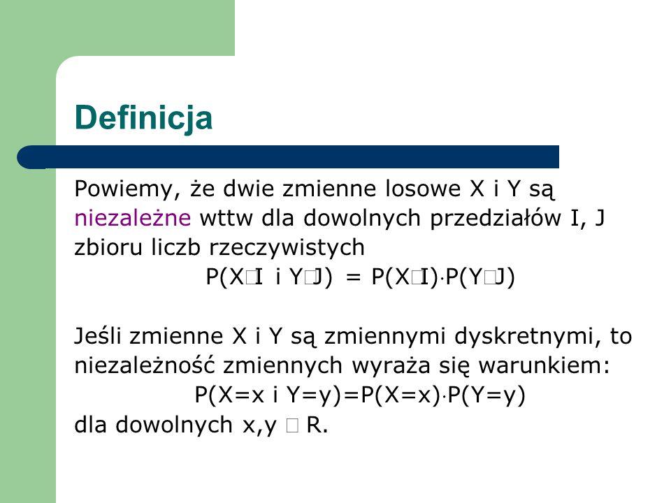 Definicja Powiemy, że dwie zmienne losowe X i Y są
