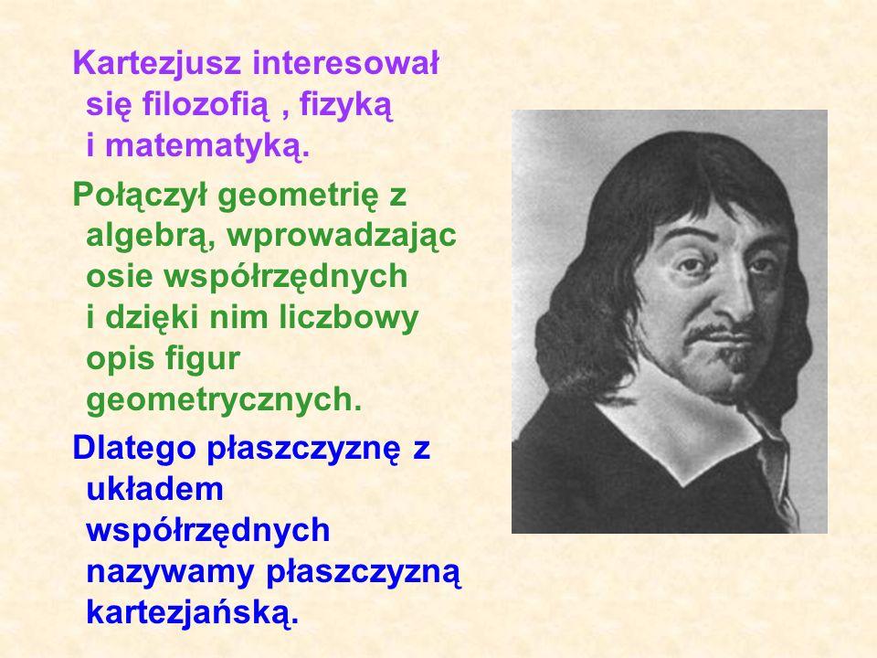 Kartezjusz interesował się filozofią , fizyką i matematyką.