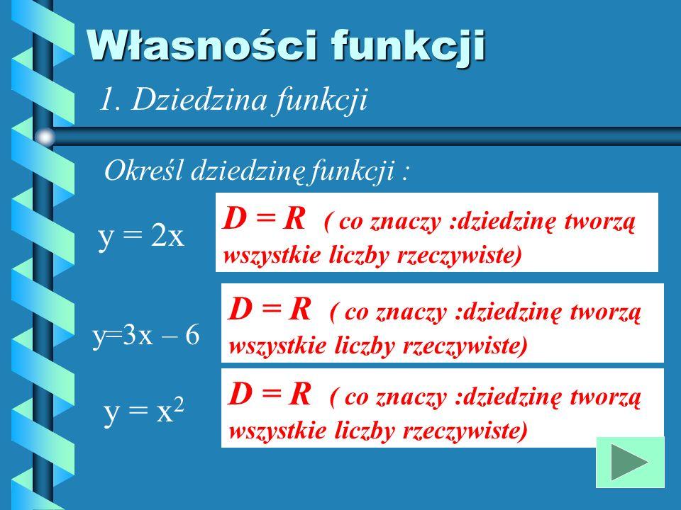 Własności funkcji 1. Dziedzina funkcji