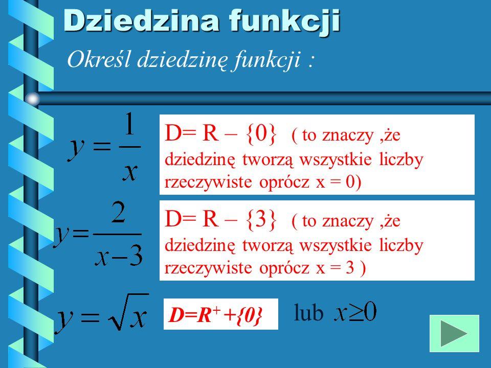 Dziedzina funkcji Określ dziedzinę funkcji :